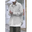 Stylish Mens Shirt Top Stripe Printed Curved Hem Long Sleeve Turn Down Collar Button Up Loose Fit Shirt Top
