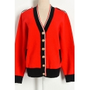 Trendy Womens Contrasted Cardigan Long Sleeve Button Up Loose Fit Knit Cardigan in Red