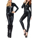 Party Womens Jumpsuit Leather Long Sleeve Stand Collar Zip Up Ankle Skinny Jumpsuit in Black