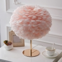 Global Feather Table Lamp Nordic Style 1 Bulb Nightstand Light for Girls Bedroom