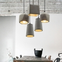 Horn Shaped Hanging Lamp Nordic Cement 1 Bulb Grey Suspension Lighting for Dining Room