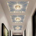 Aisle LED Ceiling Mount Light Simple Clear Flushmount Light with Scalloped Crystal Shade