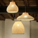 Woven Kitchenware Bamboo Pendant Lamp Chinese Style 1 Head Wood Hanging Ceiling Light