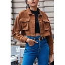 Stylish Womens Jacket Corduroy Long Sleeve Turn Down Collar Flap Pockets Button Up Relaxed Crop Jacket in Brown