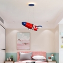 Red Finish Space Satellite LED Chandelier Cartoon Metal Hanging Light Fixture for Bedroom