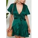 Womens Elegant Plain Green Puff Short Sleeve Notched Lapel Tied Waist Mini Wrap Dress