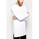 Basic Solid Color T Shirt Long Sleeve Crew Neck Zipper Sides Loose Fit Tee Top for Men
