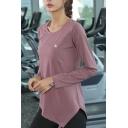 Gym Womens T-Shirt Asymmetric Hem Quick Dry Slim Fit Long Sleeve Crew Neck Yoga Tee Shirt
