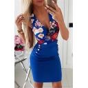 Popular Womens Dress Flower Printed Deep V-neck Sleeveless Short Tight Tank Dress