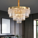 Gold Tiered Tapered Chandelier Simplicity 6-Light 3-Sided Crystal Bar Pendant Lighting