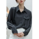 Trendy Women's Shirt Blouse Solid Color Flap Pocket Button Closure Turn-down Collar Long Sleeve Regular Fitted Shirt