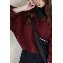 Trendy Women's Shirt Solid Color Chest Pocket Button Fy Spread Collar Long Sleeve Regular Fitted Shirt