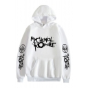 Womens White Unique Thorns Letter Printed Long Sleeve Pouch Pocket Drawstring Hoodie