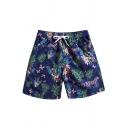 Summer Tropical Floral Plants Printed Drawstring Waist Mens Casual Navy Swim Shorts