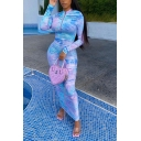 Trendy Womens Dress Tie Dye Printed Long Sleeve Crew Neck Zip Up Ruched Maxi Fitted Dress