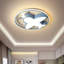 Airplane LED Ceiling Light Cartoon Acrylic Kids Room Flush Mounted Lighting with Metal Ring