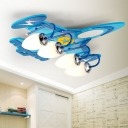 Wooden Airplane Ceiling Flush Mount Light Kids Blue Flush Light Fixture with White Glass Shade