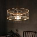 Drum Tea Room Ceiling Light Bamboo Single Modern Style Hanging Pendant Light in Wood
