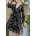 Resort Style Women's Blouse Dress Graphic Pattern Hollow out V Neck Ruffle Hem Ruched Detail Long Sleeve Mini Blouse Dress