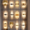 Minimalist Curve Wall Light Fluted Glass 2-Light Living Room Flush Wall Sconce in Black