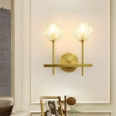 Bud Shaped Wall Mount Light Postmodern Beveled Crystal Gold Finish Sconce Fixture for Bedroom
