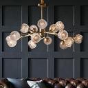 Ball Crystal Chandelier Light Fixture Modernism Antiqued Gold Hanging Lighting for Living Room