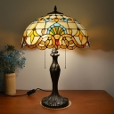 2-Light Dome Table Lamp Tiffany Antique-Gold Stained Glass Nightstand Light with Pull Chain
