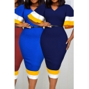 Trendy Dress Contrasted Bell Sleeve V-neck Belted Midi Tight Dress for Women