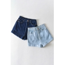 Cool Girls Shorts Solid Color Mid Waist Roll Up Cuffs Straight Denim Shorts