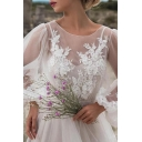 Pretty Womens Dress See-through Mesh Applique Blouson Sleeve Round Neck Maxi Pleated A-line Dress in White