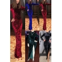 Elegant Womens Dress Plain Velvet Twist Waist Long Sleeve Mock Neck High Cut Maxi Sheath Dress