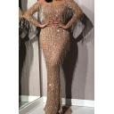 Gorgeous Womens Dress Gold Fringe Decoration Long Sleeve Off the Shoulder Maxi Shift Dress