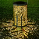 Plastic Hollow Lantern LED Suspension Light Decorative White Solar Lawn Lighting with Handle, 1 Pc