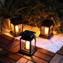 Plastic Lantern Solar Pendant Light Contemporary Black Outdoor LED Suspension Light Fixture, 1 Pc