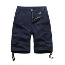 Trendy Men's Shorts Plain Flap Pocket Zip Fly Slant Pocket Drawstring Cuffs Knee Length Shorts