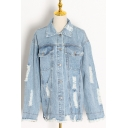 Stylish Girls Jacket Ripped Long Sleeve Turn Down Collar Button Up Relaxed Denim Jacket in Blue