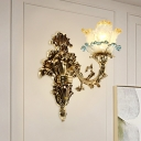 Floral Sconce Light Fixture Luxe European Style Gold Frost Glass Wall Mounted Light