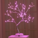 Tree Shaped LED Night Stand Lamp Artistic Plastic Bedroom Battery Table Light in Gold