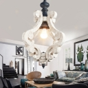 Shaded Wood Suspension Light Retro Style 1 Bulb Living Room Pendant Light in Distressed White