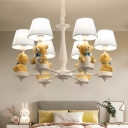 Pleated Fabric Conic Hanging Lamp Cartoon Yellow Chandelier with Resin Bear Deco for Nursery