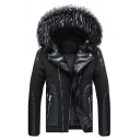 Mens Winter Trendy Detachable Fur Trimmed Hood PU Leather Patchwork Zipper Embellished Black Down Jacket Coat