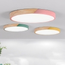 Splicing Circle Ultrathin Ceiling Lamp Macaron Acrylic Living Room LED Flush Mounted Light with Wood Accent