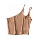 Creative Women's Tank Top Solid Color Asymmetrical Neck Spaghetti Strap Sleeveless Cropped Cami Top