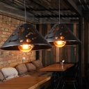 Iron Conical Ceiling Light Modern Single Restaurant Hanging Pendant Lighting in Black