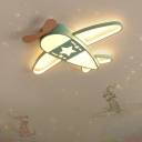 Aircraft Flush Mount Led Light Cartoon Metal Childrens Room Flushmount Ceiling Lamp