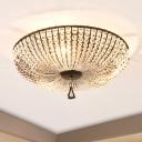 Modern Bowl Ceiling Mount Light Fixture Clear Crystal Bead 3 Bulbs Bedroom Flushmount Ceiling Lamp in Black
