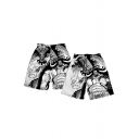 Guys Stylish Cartoon Cat Printed Drawstring-Waist Black Casual Surfing Beach Swim Trunks