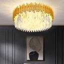 Bedroom Flush Ceiling Light Postmodern Gold Finish Flushmount with Drum K9 Crystal Shade