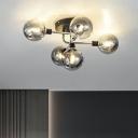 Post-Modern Bubbles Semi Flush Ceiling Light Glass Bedroom Flush Mount Lighting Fixture