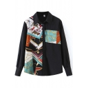 Fashion Womens Shirt Mixed Printed Long Sleeve Spread Collar Button Up Loose Fit Shirt Top in Black